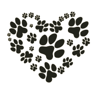 heart shape from paw prints