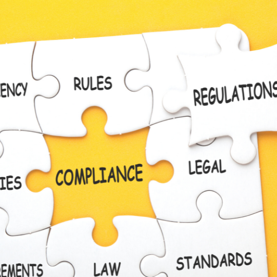 """a puzzle piece with the word """"compliance"""""""